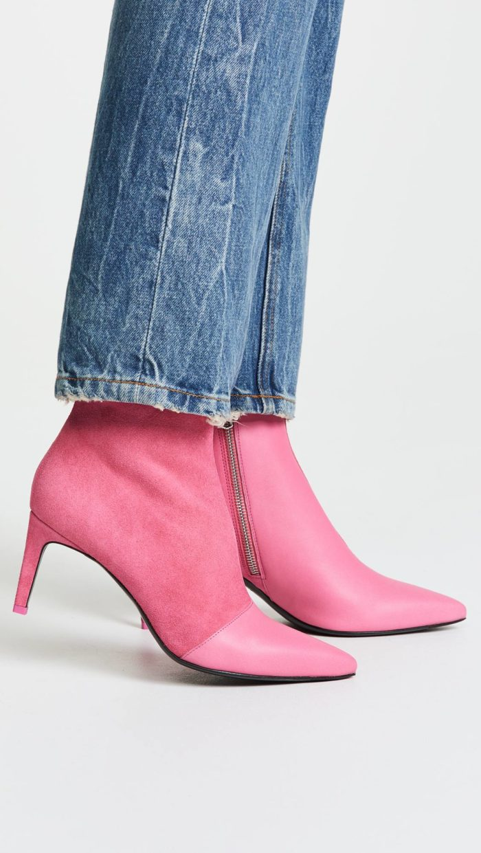 розовые ботильоны на каблуках