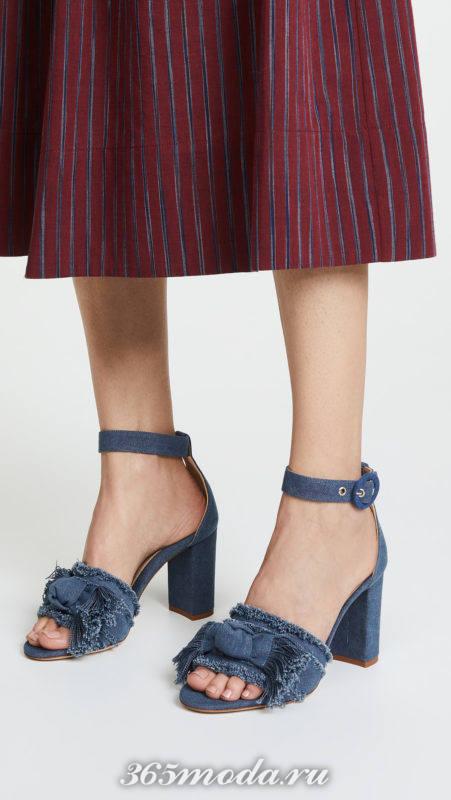 джинсовые босоножки на толстых каблуках
