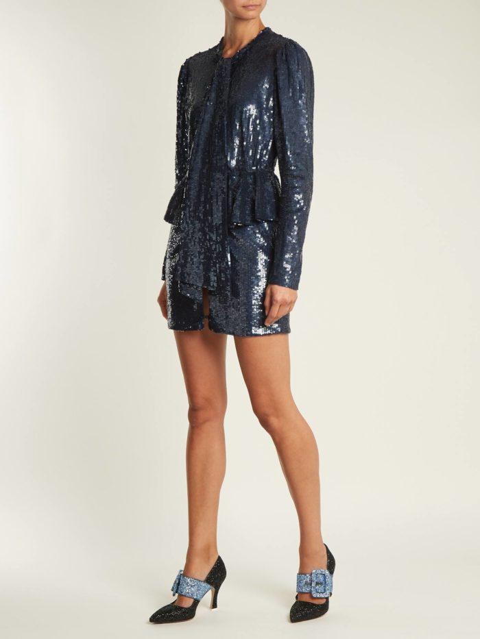 блестящее мини платье с баской