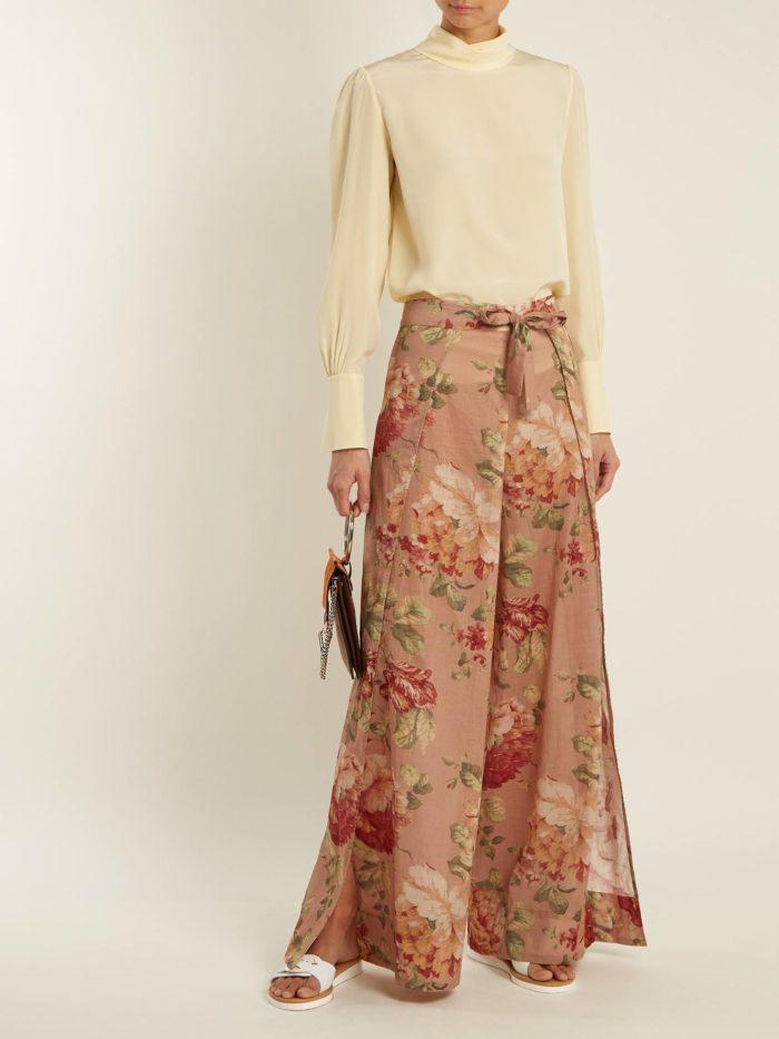 юбка макси с принтом и блуза