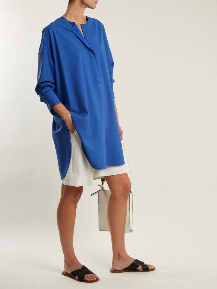 синяя блуза оверсайз