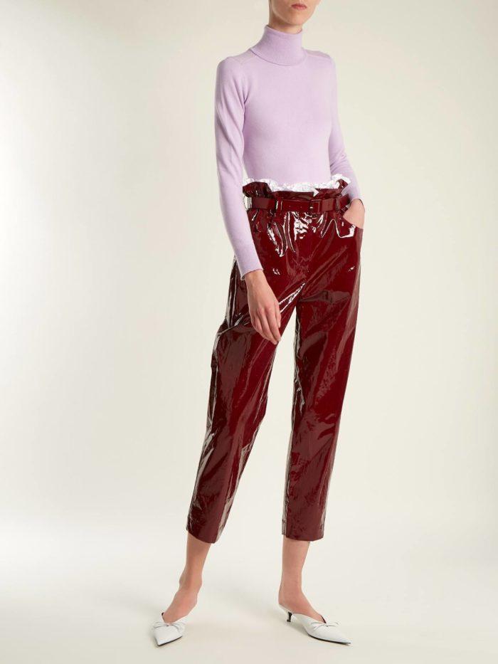 кожаные укороченные брюки с гольфом