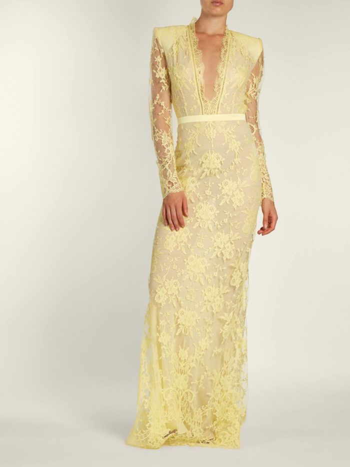 желтое кружевное макси платье