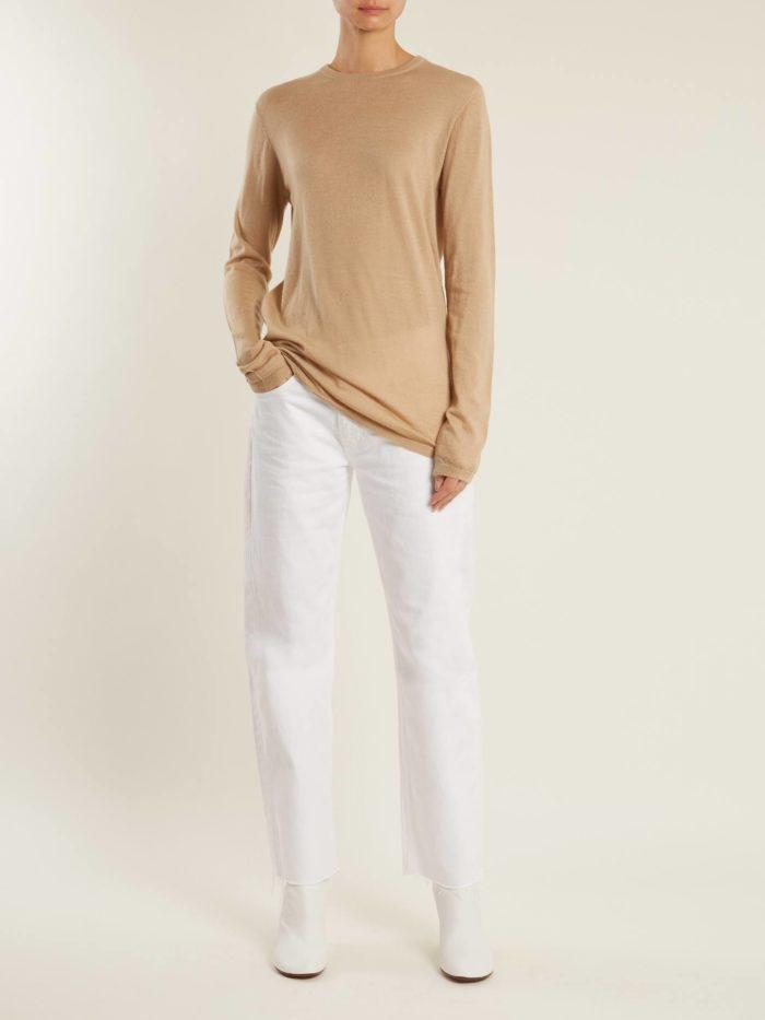 укороченные белые брюки с кофейным регланом