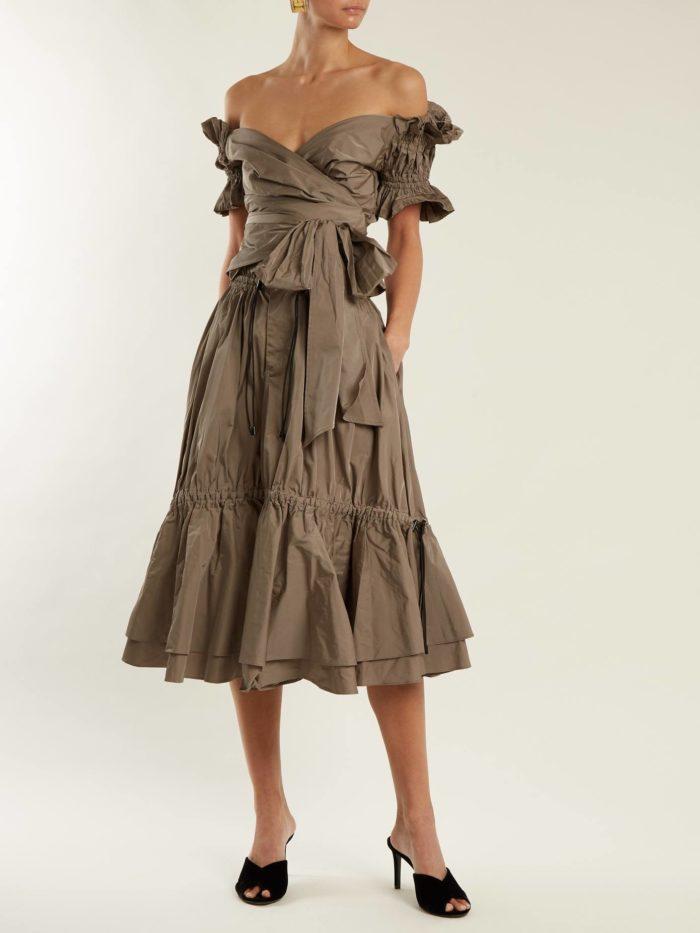 миди платье с оборками и коротким рукавом