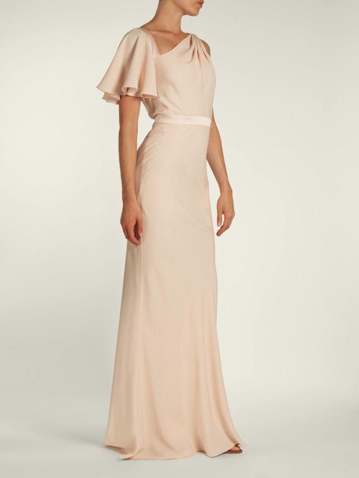 розовое макси платье с оборками