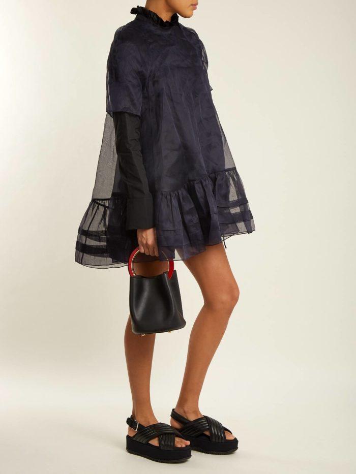 прозрачное синее мини платье