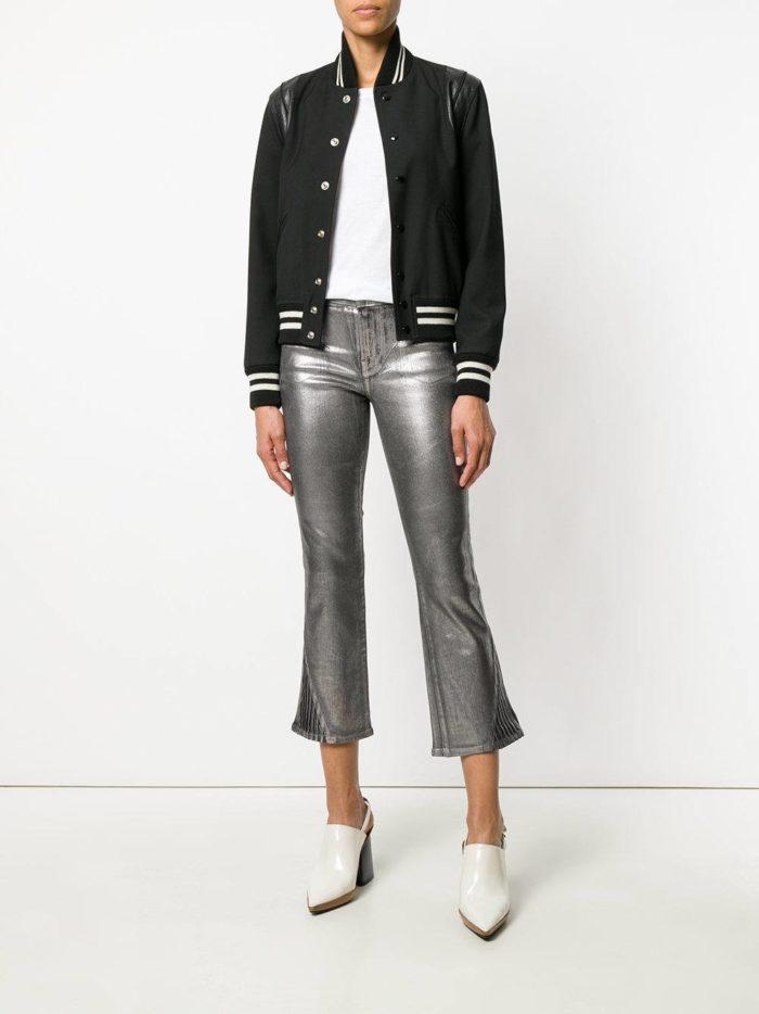 Модные цвета осень-зима 2019-2020: блестящие укороченные брюки и черный бомбер