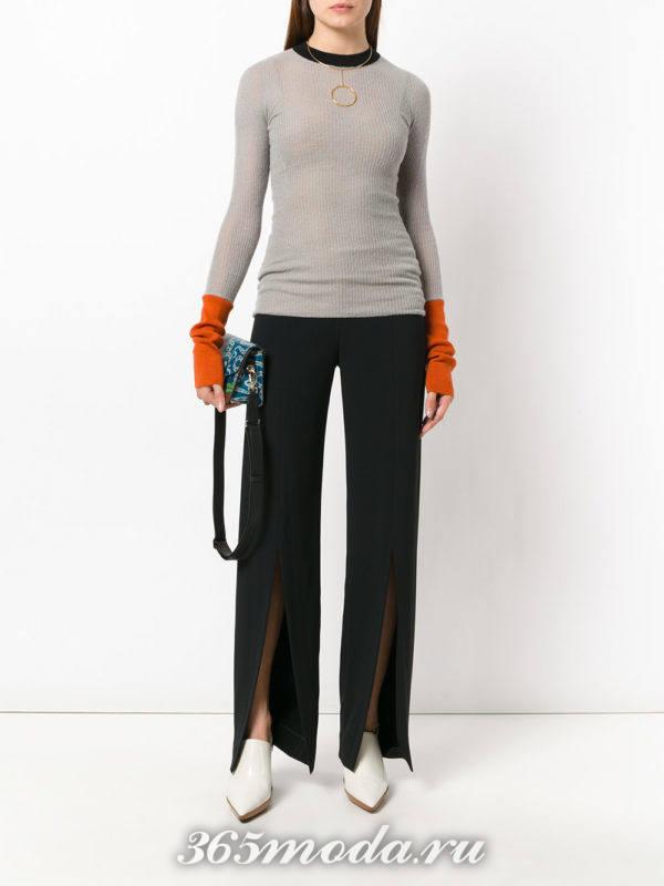 брюки с разрезами и реглан