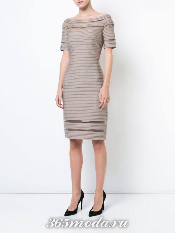 платье карандаш с прозрачными вставками