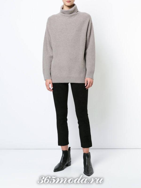 укороченные брюки и свитер
