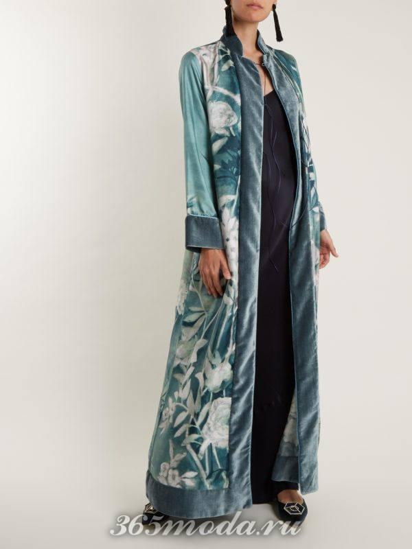 пальто-халат с принтом