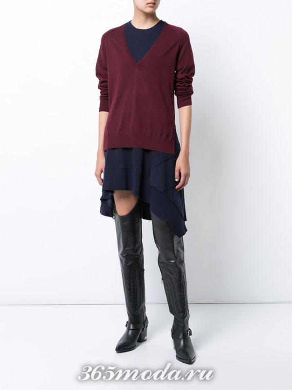 свитер и асимметричная юбка