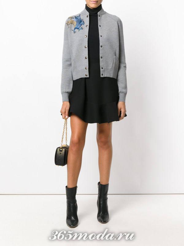 юбка клеш и серый бомбер