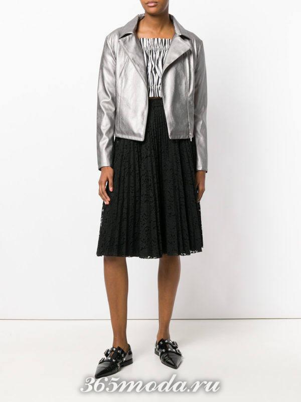 кружевная юбка плиссе и косуха металлик