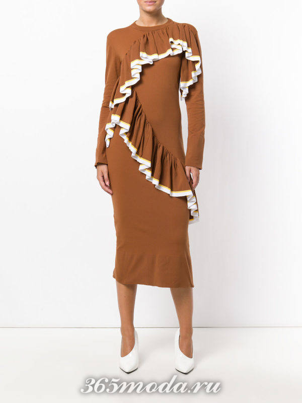 платье футляр с оборками