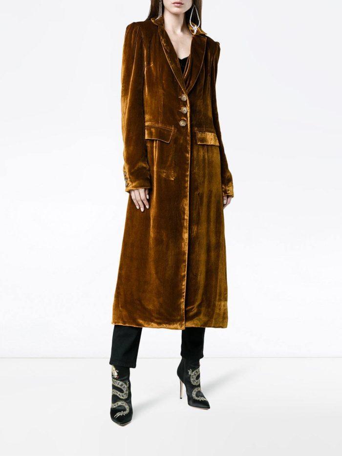 бархатное миди пальто