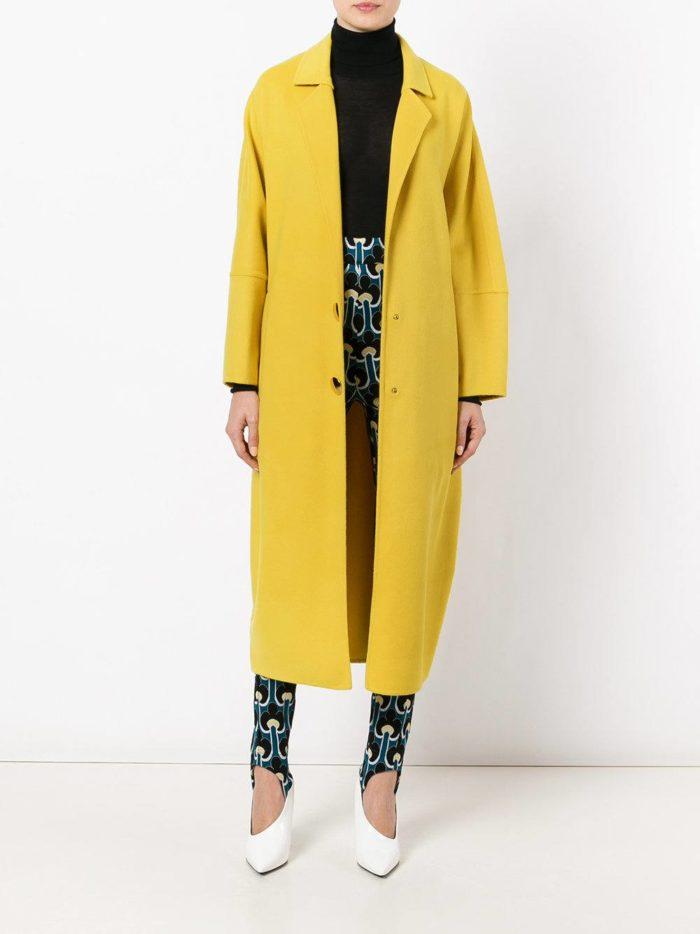 желтое пальто миди