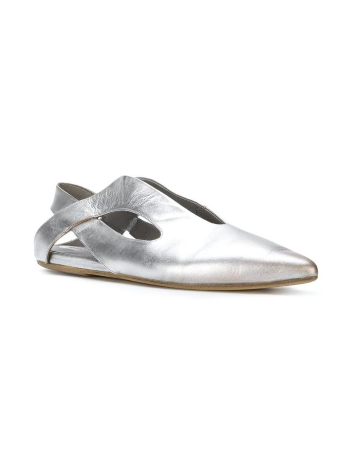 серебристые балетка с переплетом