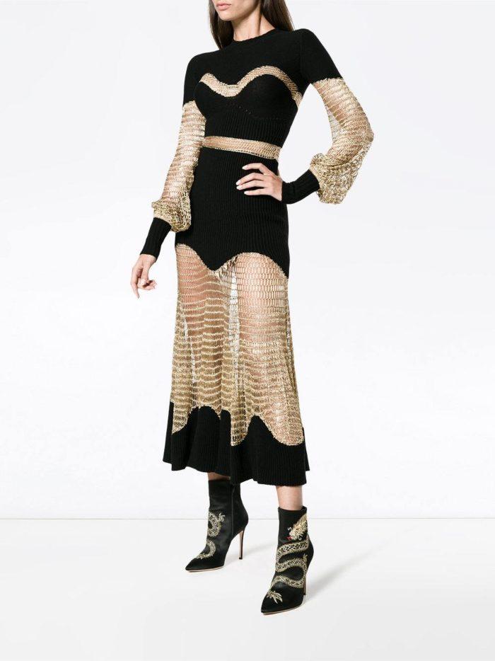 трикотажное платье со вставками весна лето