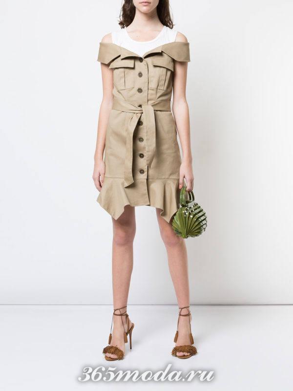 платье рубашка с поясом весна лето
