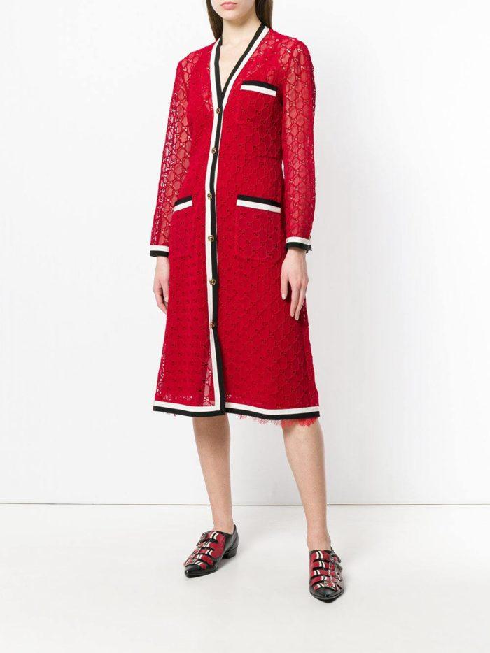 красное миди платье весна лето