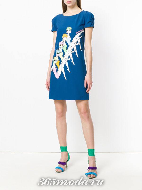 синее платье с рисунком весна лето