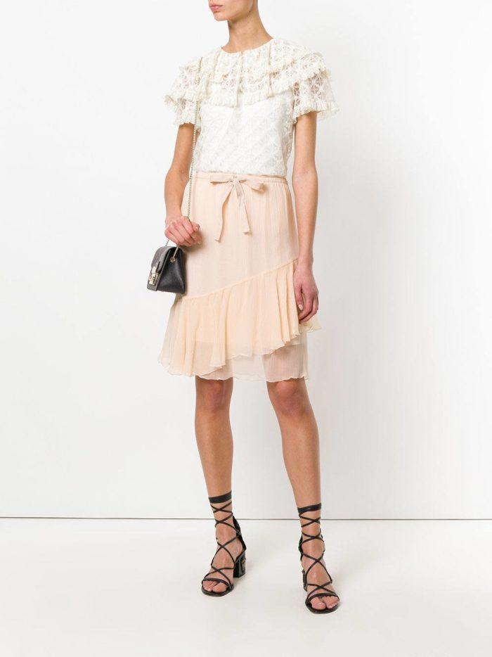 многослойная розовая юбка весна лето