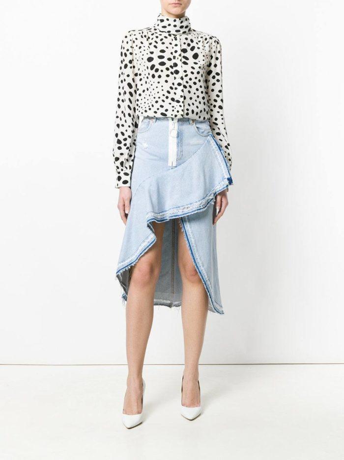 асимметричная джинсовая юбка и блуза весна лето