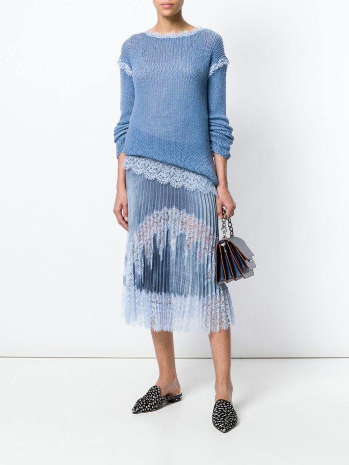 юбка плиссе с кружевом и свитер весна лето