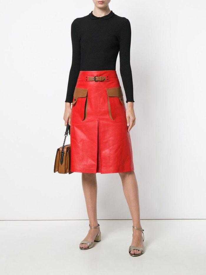 кожаная юбка и черный свитер весна лето