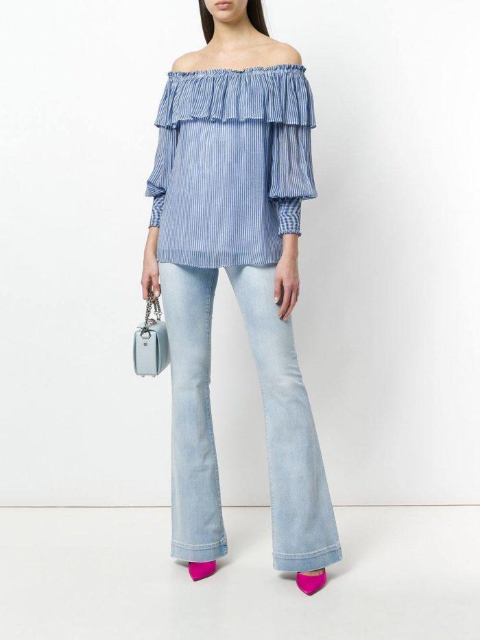 блуза с оборками и джинсы клеш