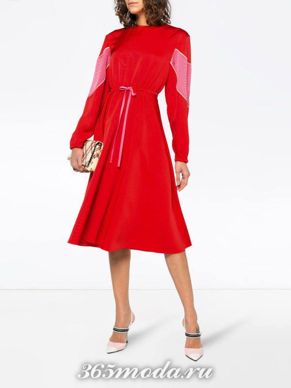 красное платье клеш весна лето