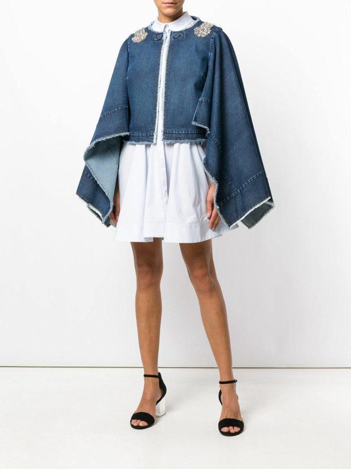 джинсовая накидка и юбка мини весна лето