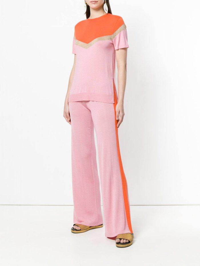 розовый брючный комплект весна лето