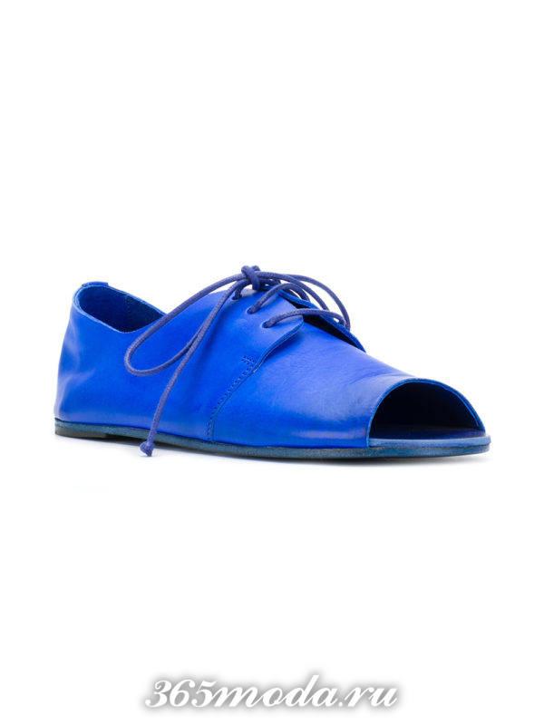 туфли с открытым носком на шнуровке весна лето