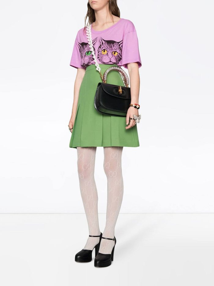 зеленая юбка клеш и розовая футболка весна лето