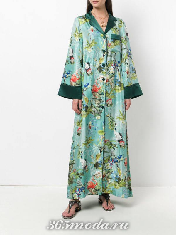 платье-халат с принтом