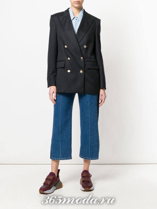 укороченные джинсы и пиджак весна лето
