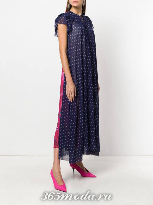 комбинированное платье макси весна лето