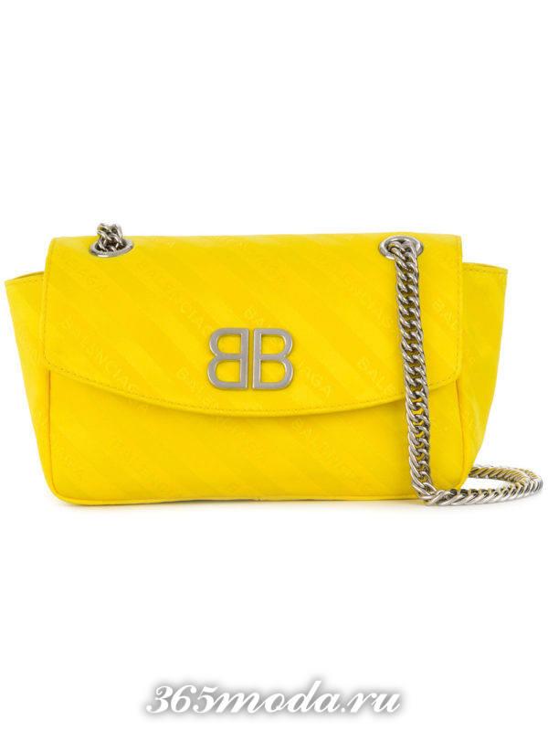 желтая сумка на цепочке весна лето