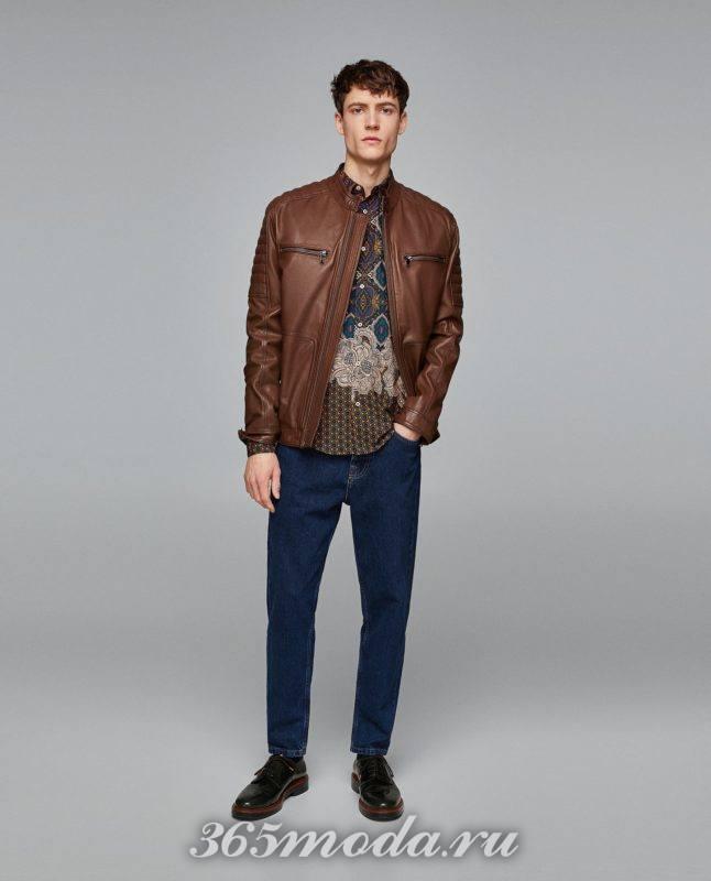 Кожаная мужская куртка весна 2019