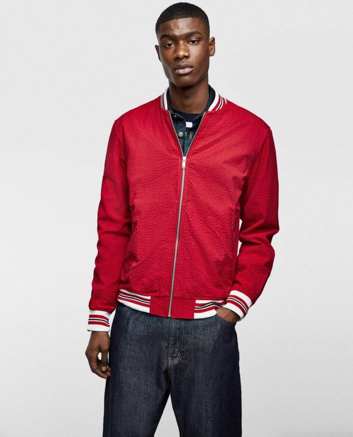 Мужские красная куртка бомбер весна