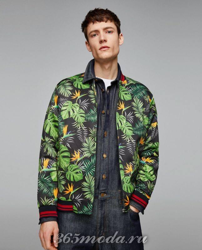 Мужские принтованная куртка бомбер весна 2019