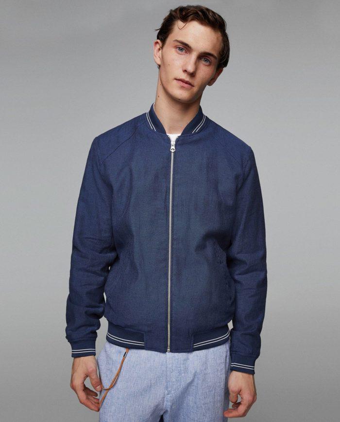 Мужские синяя куртка бомбер весна
