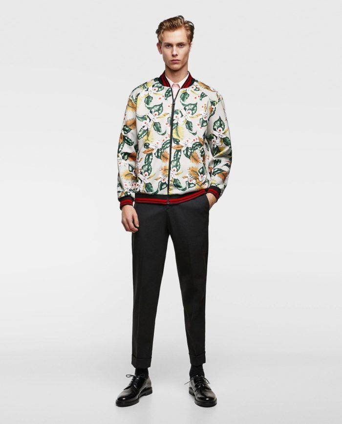 Мужские принтованная куртка бомбер весна