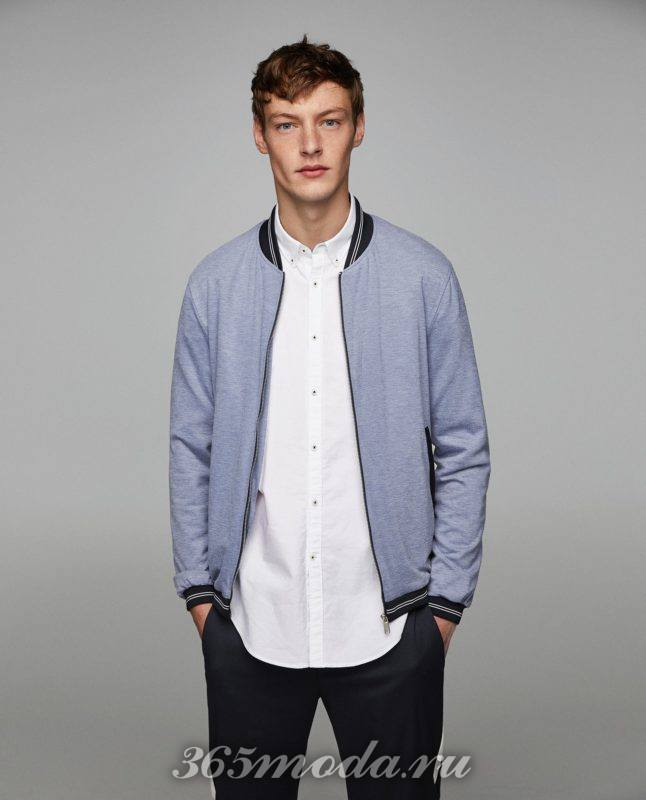 Мужские голубая куртка бомбер весна 2019