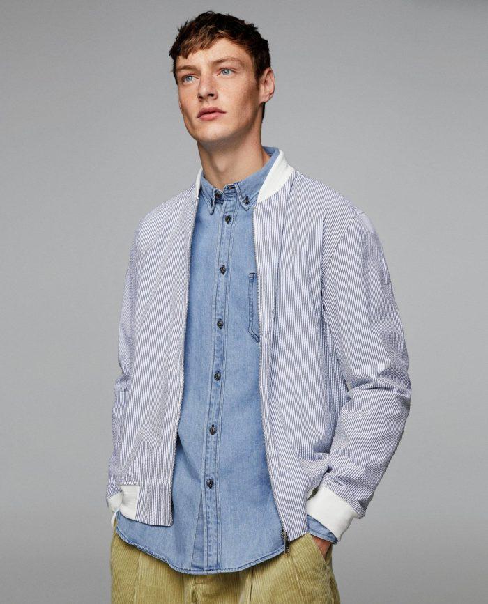 Мужские голубая куртка бомбер весна