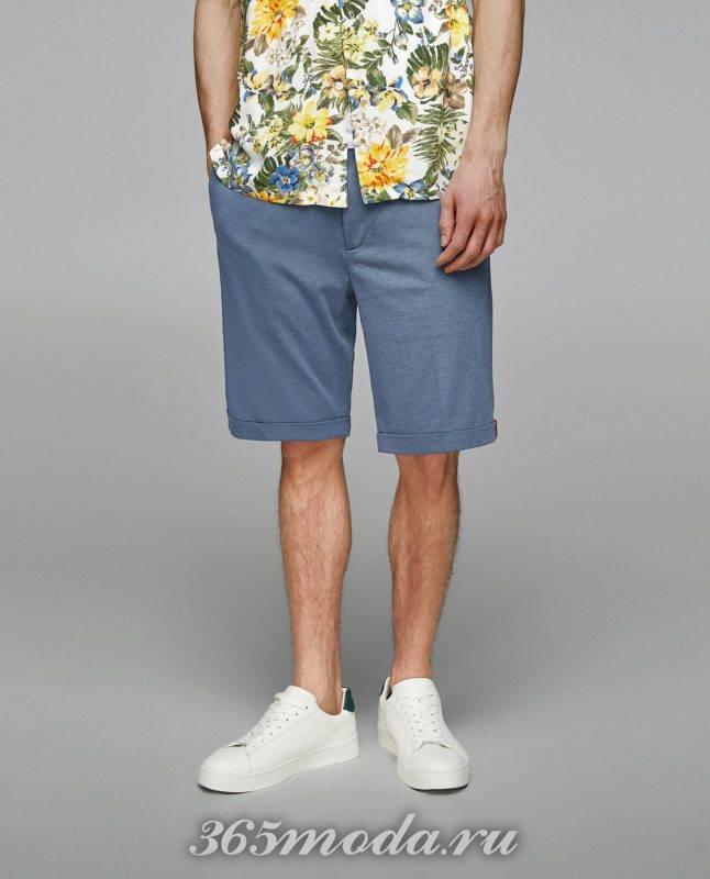 синие шорты весна лето 2018