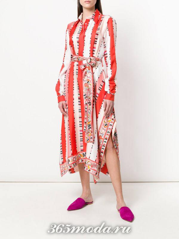 асимметричное платье-рубашка с разрезами